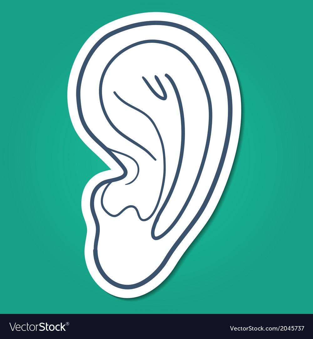 Ear hearing symbol vector | Price: 1 Credit (USD $1)