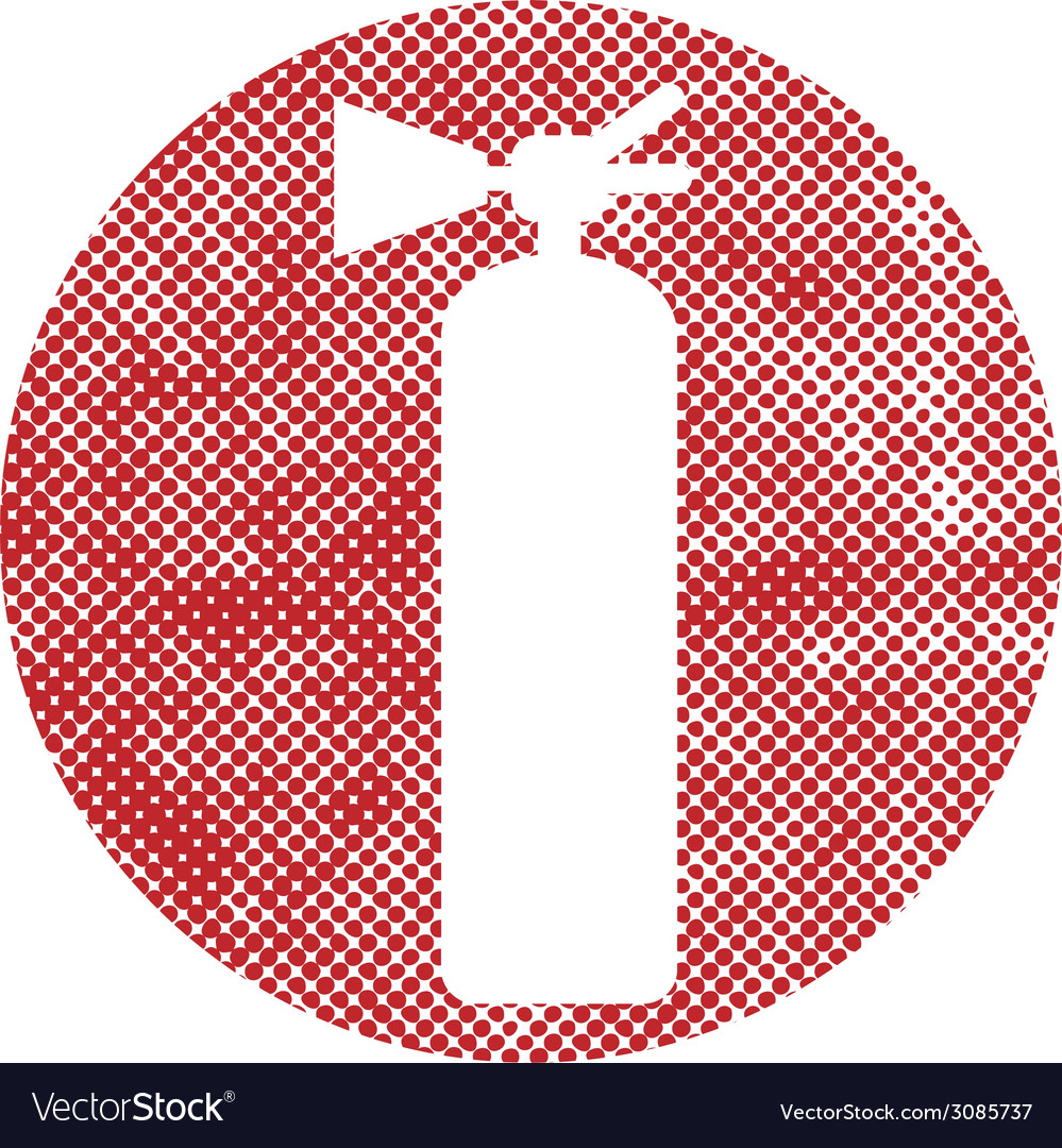 Fire extinguisher sign with pixel print halftone vector | Price: 1 Credit (USD $1)