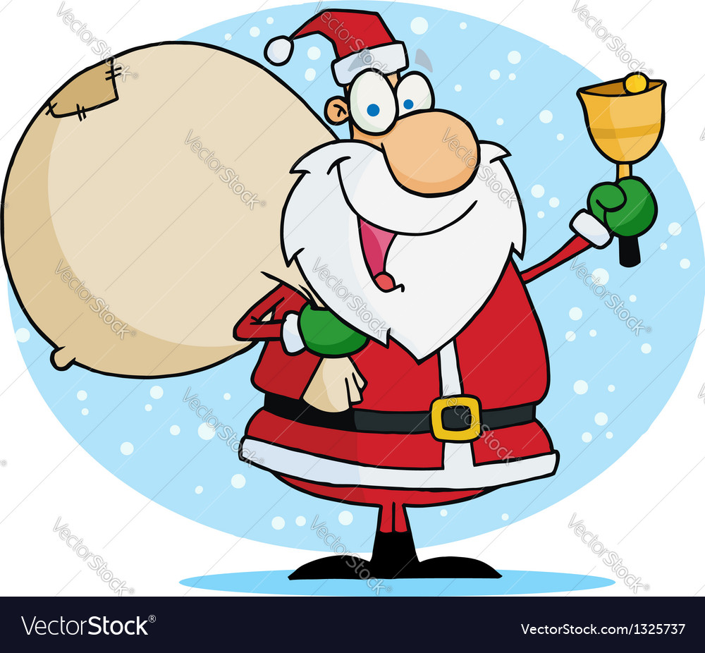 Jolly christmas santa ringing a bell vector | Price: 1 Credit (USD $1)