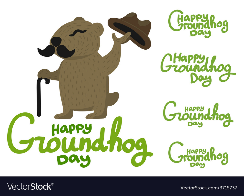 Lettering for groundhog day groundhog with a vector | Price: 1 Credit (USD $1)