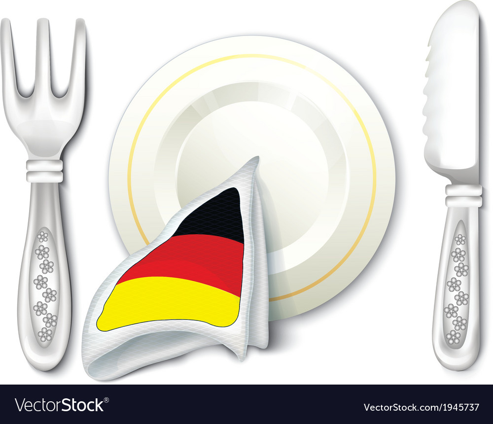 Plate fork knife with germany flag vector | Price: 1 Credit (USD $1)