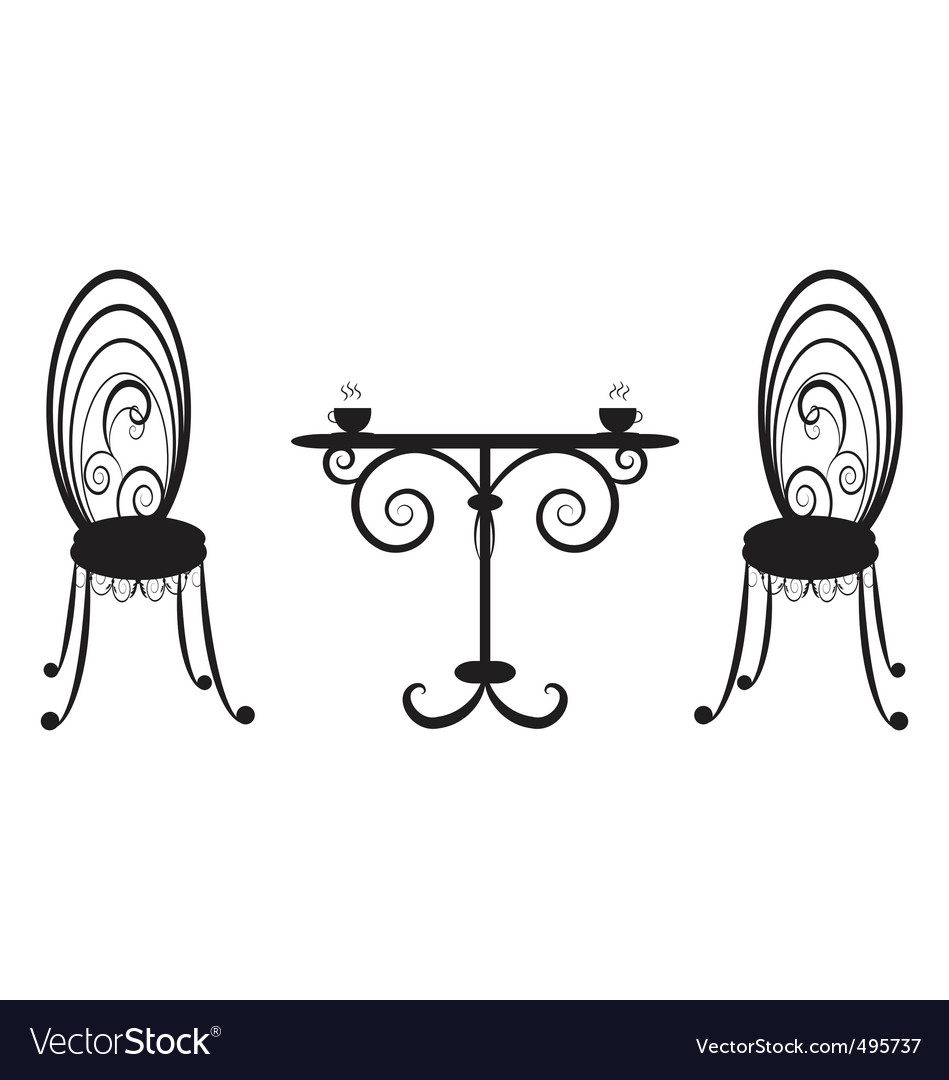 Retro table and two chairs vector | Price: 1 Credit (USD $1)
