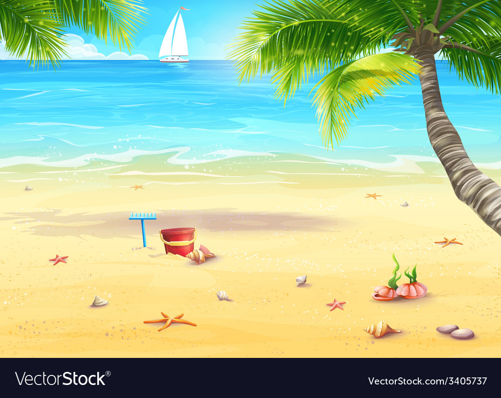 The sea shore with palm trees shells bucket and vector | Price: 5 Credit (USD $5)