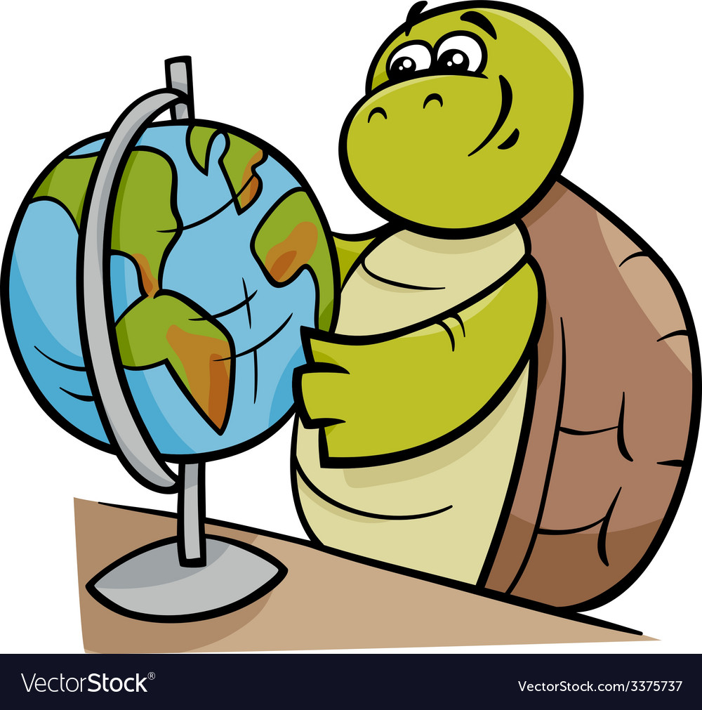 Turtle with globe cartoon vector | Price: 1 Credit (USD $1)