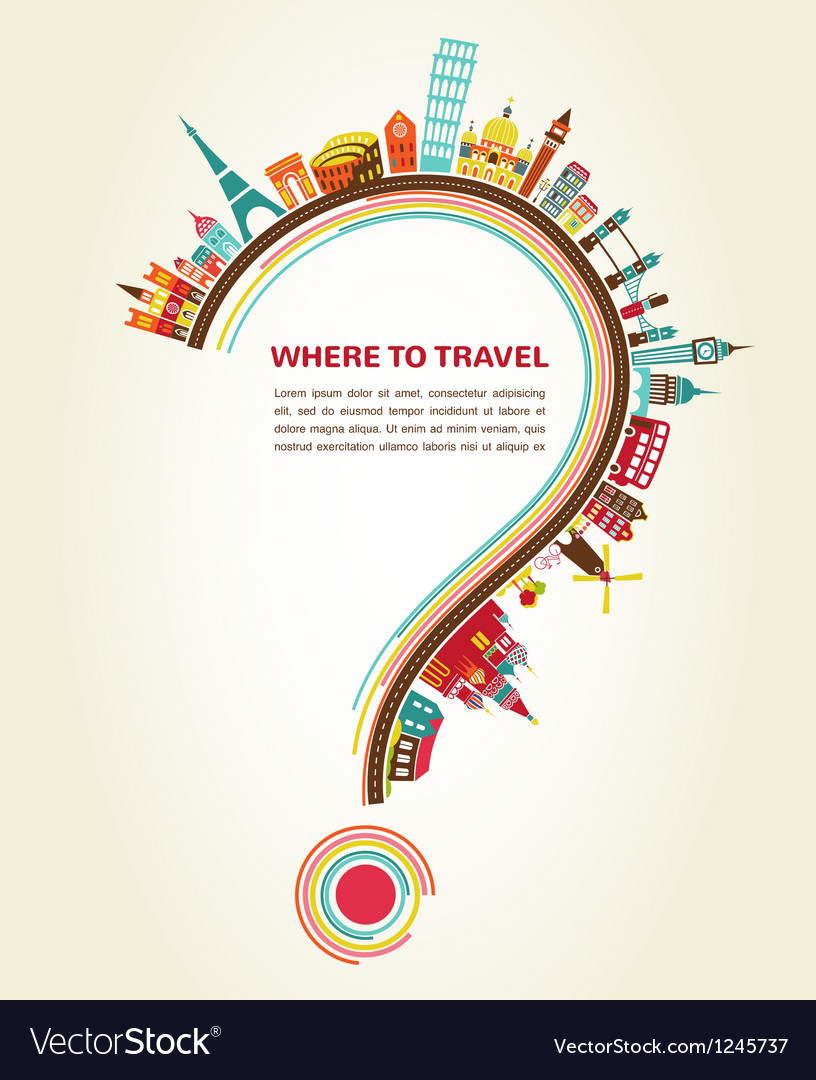 Where to travel question mark with tourism icons vector | Price: 1 Credit (USD $1)
