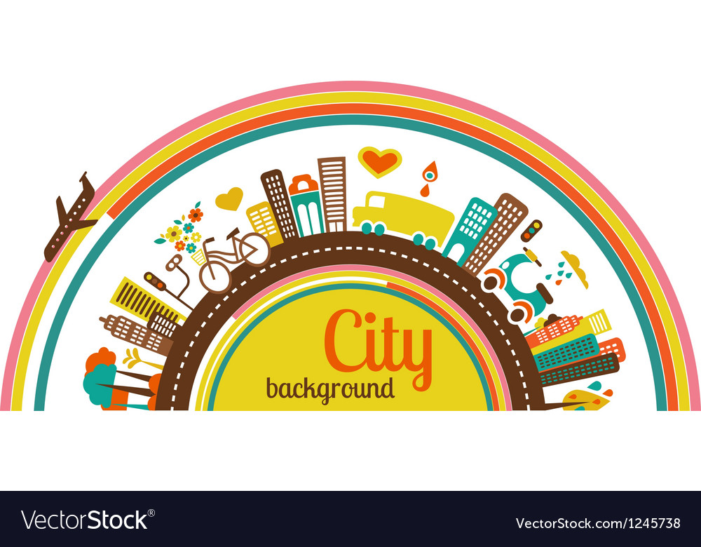 City background with icons and elements vector | Price: 1 Credit (USD $1)