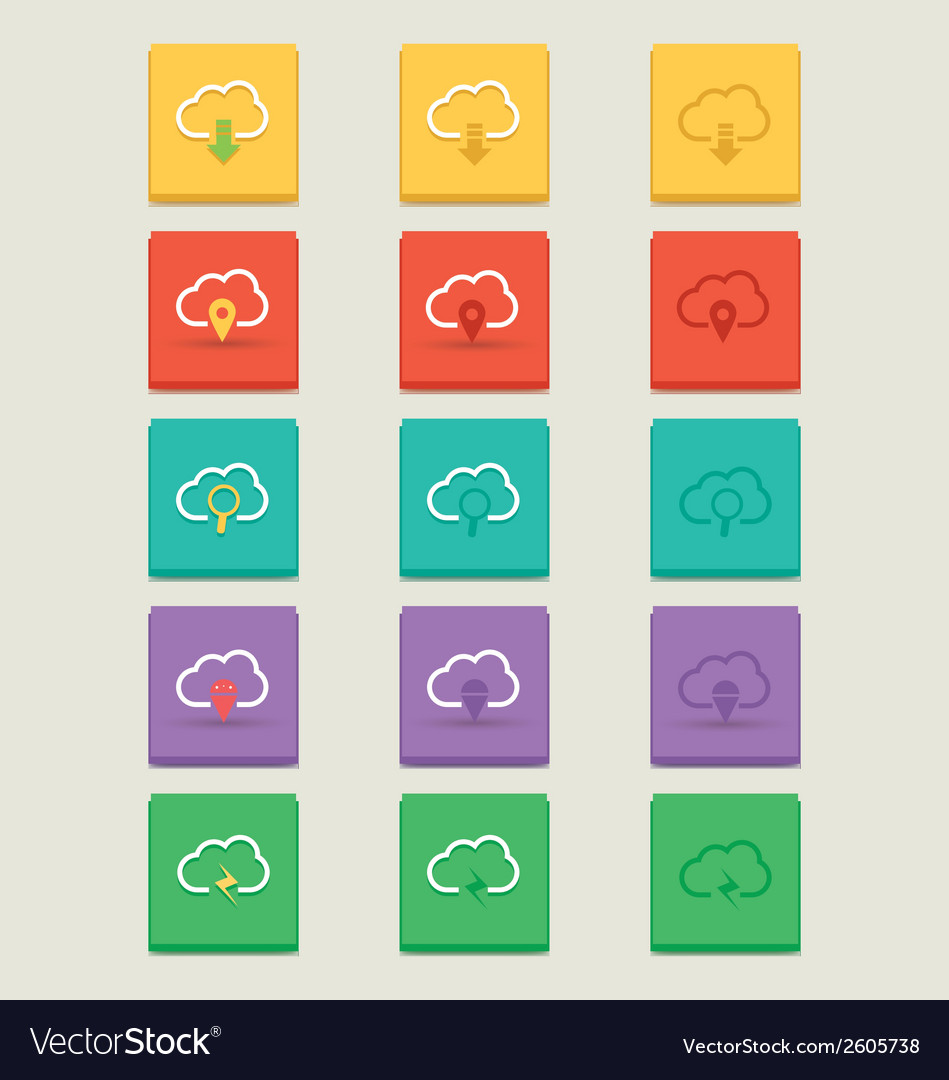 Cloud 3 styles icons 2 vector | Price: 1 Credit (USD $1)