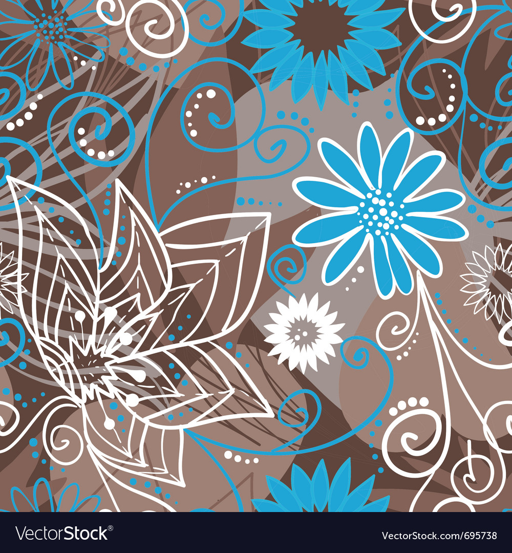 Coffee-and-blue floral pattern vector | Price: 1 Credit (USD $1)