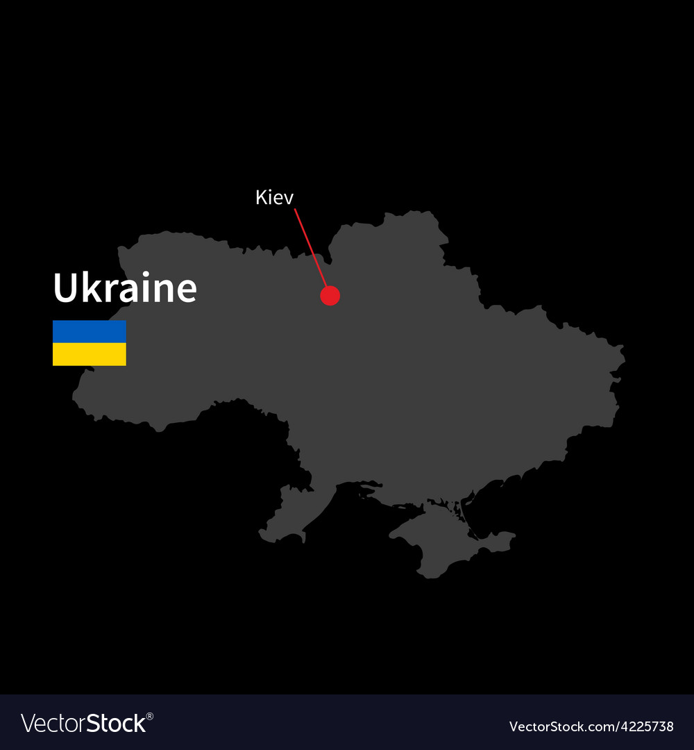 Detailed map of ukraine and capital city kiev with vector | Price: 1 Credit (USD $1)