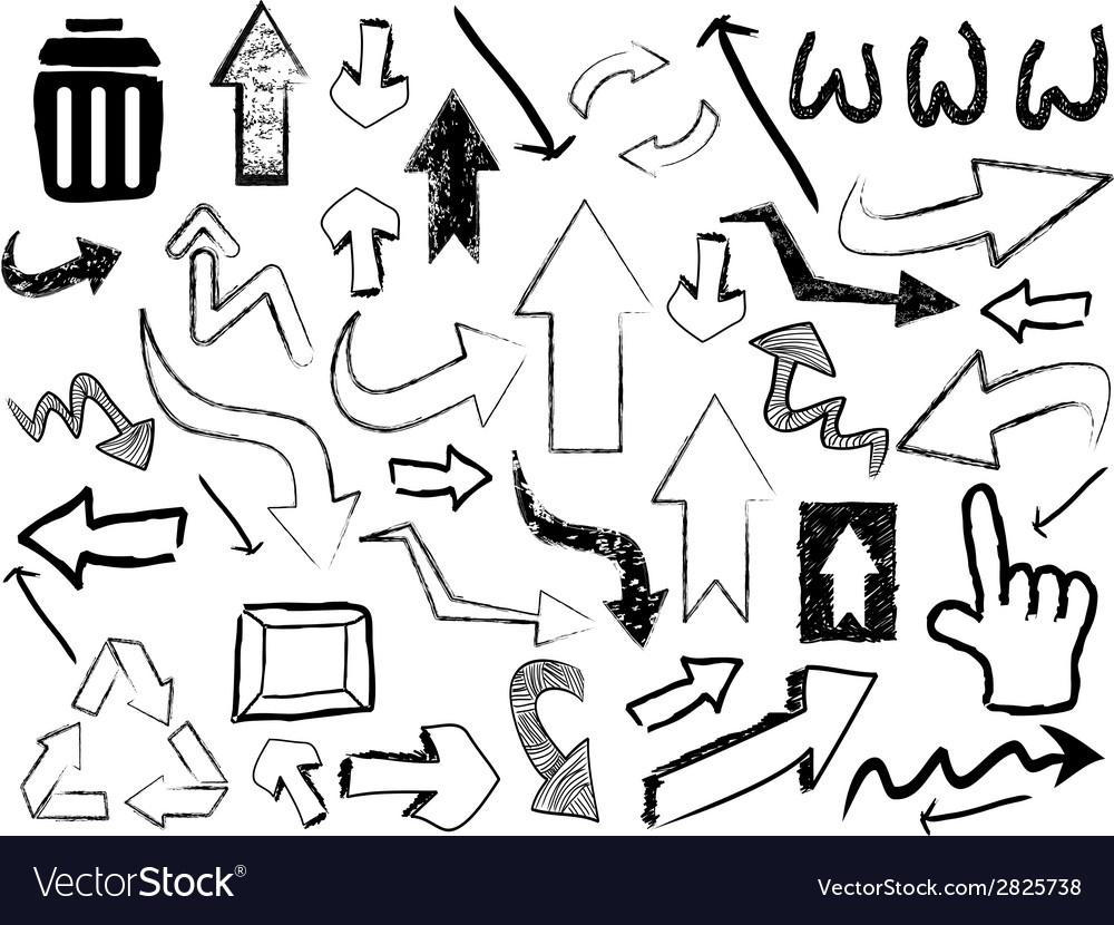 Doodle arrow sign background vector | Price: 1 Credit (USD $1)