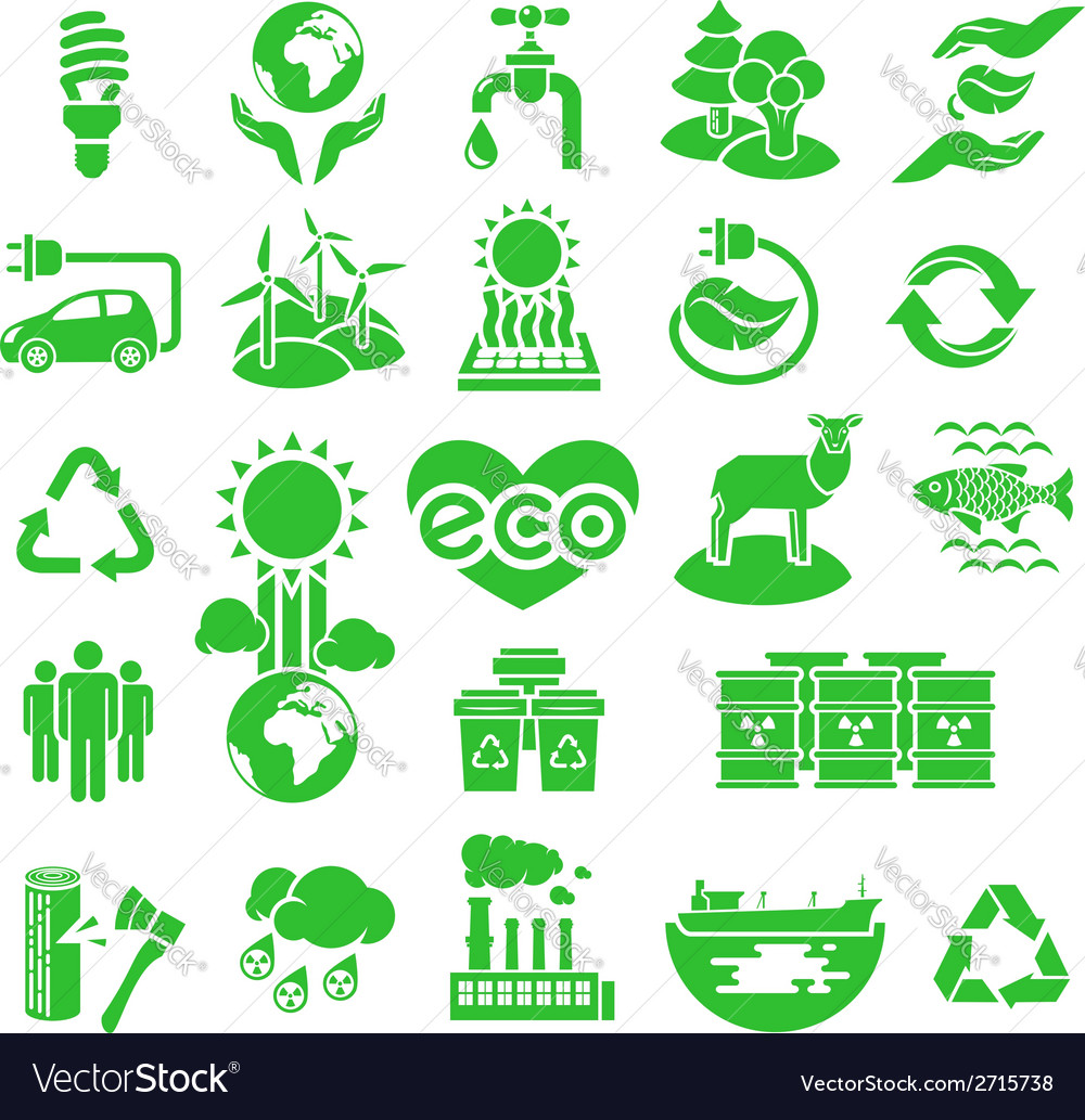 Eco icons silhouettes vector | Price: 1 Credit (USD $1)