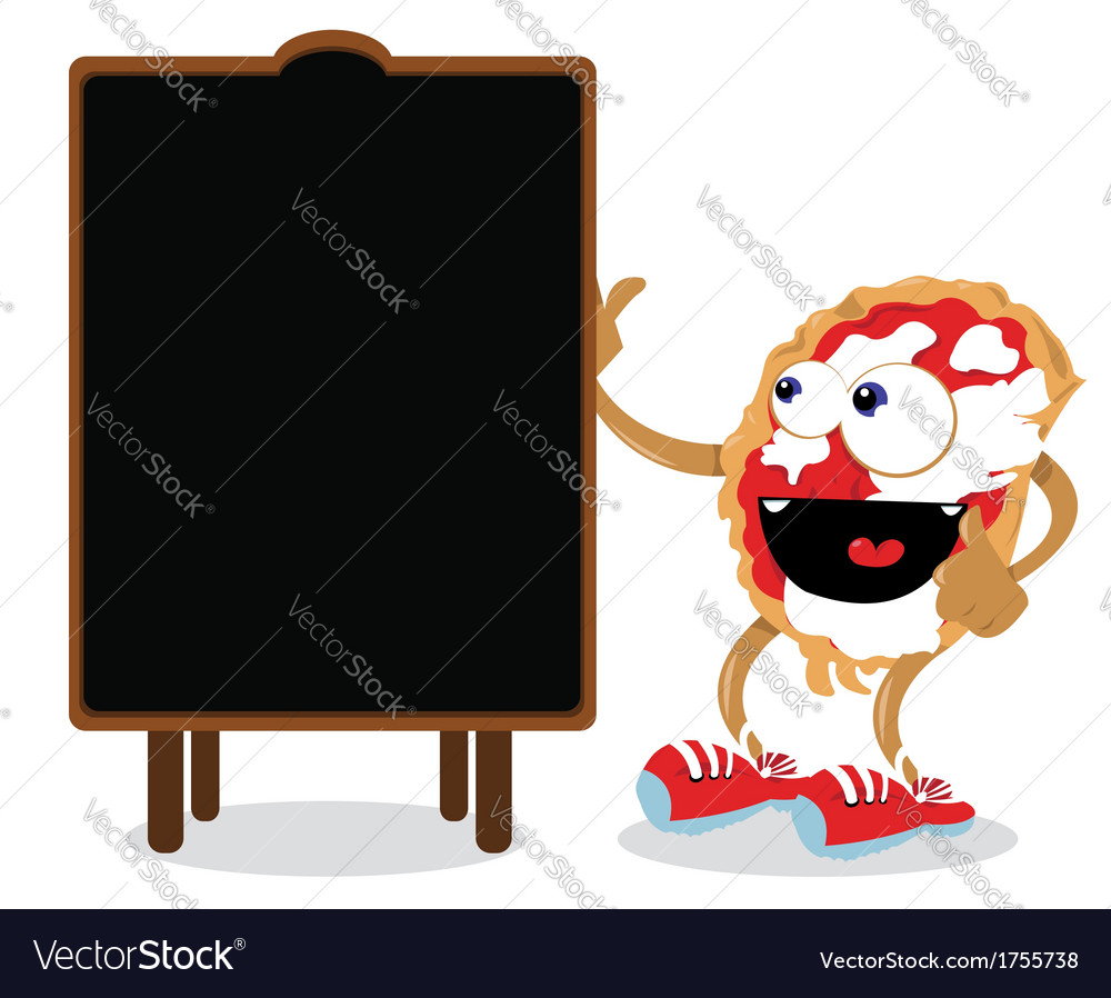 Funny pizza pointing a blackboard vector | Price: 1 Credit (USD $1)