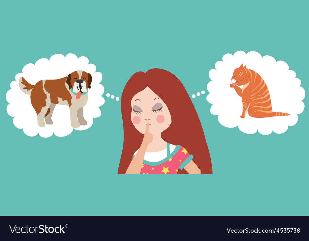Girl thinking whom to choose cat or dog vector | Price: 1 Credit (USD $1)