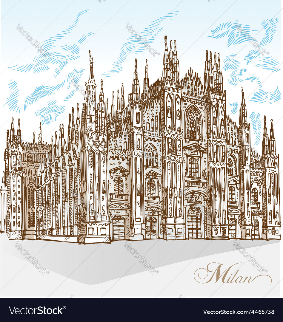 Milan cathedral hand draw vector | Price: 3 Credit (USD $3)
