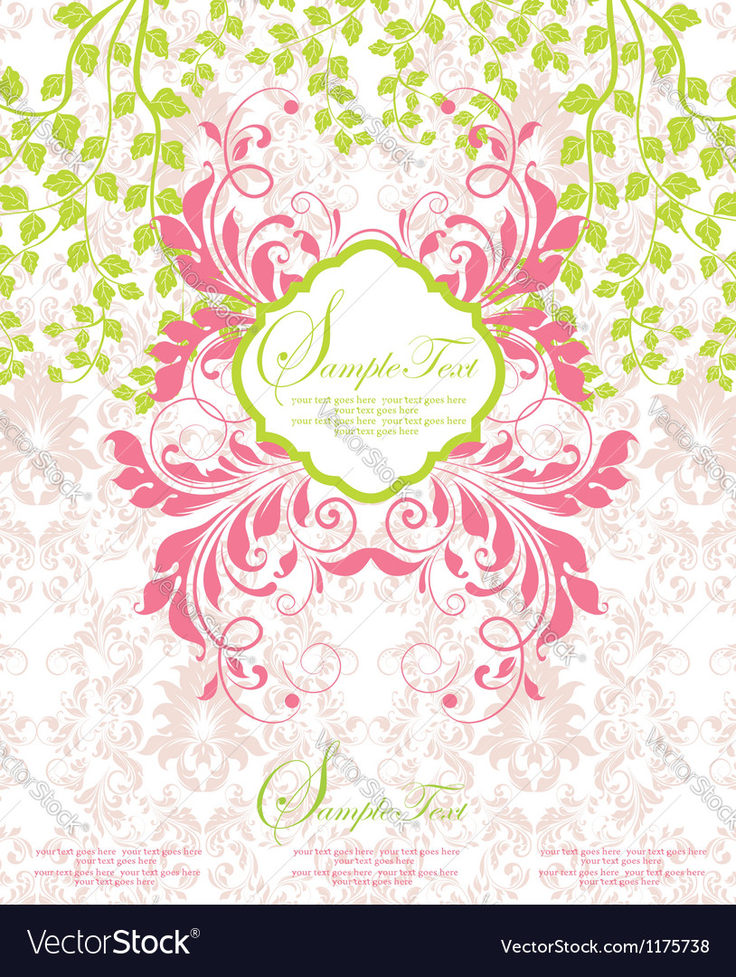 Pink and green abstract floral invitation vector | Price: 1 Credit (USD $1)