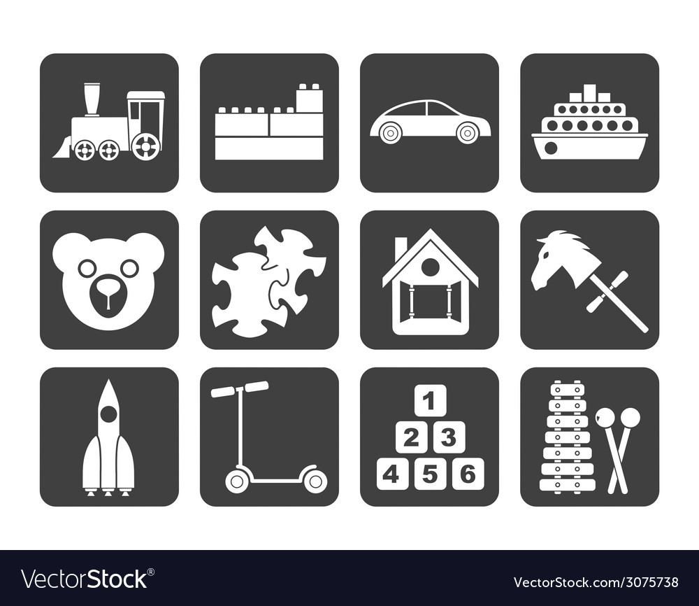 Silhouette different kinds of toys icons vector | Price: 1 Credit (USD $1)