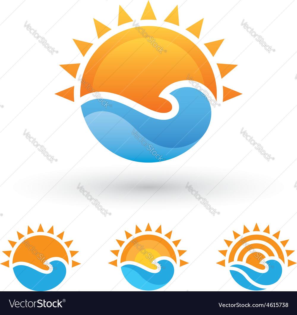 Sun and sea symbol vector | Price: 1 Credit (USD $1)