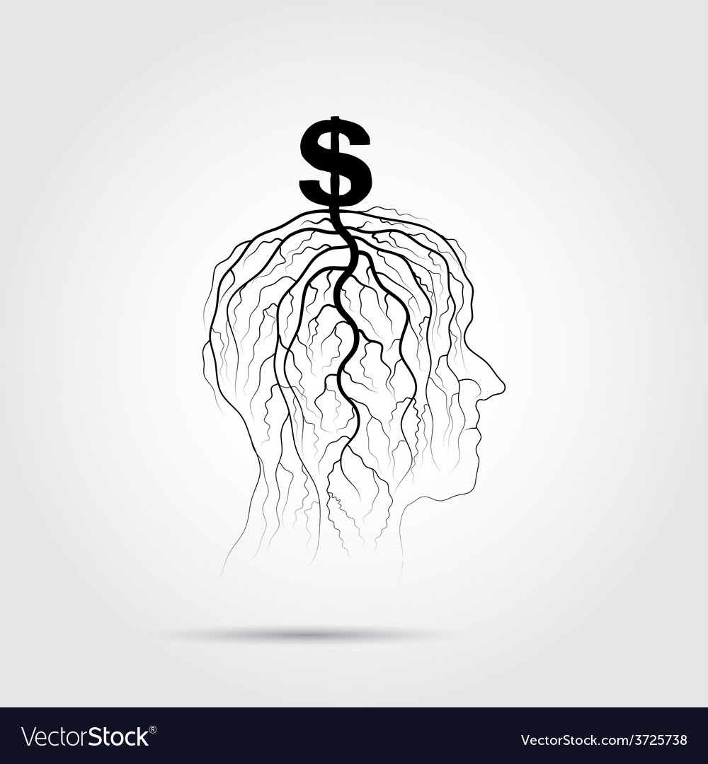 Tree of business shoot grow on human head symbol vector | Price: 1 Credit (USD $1)