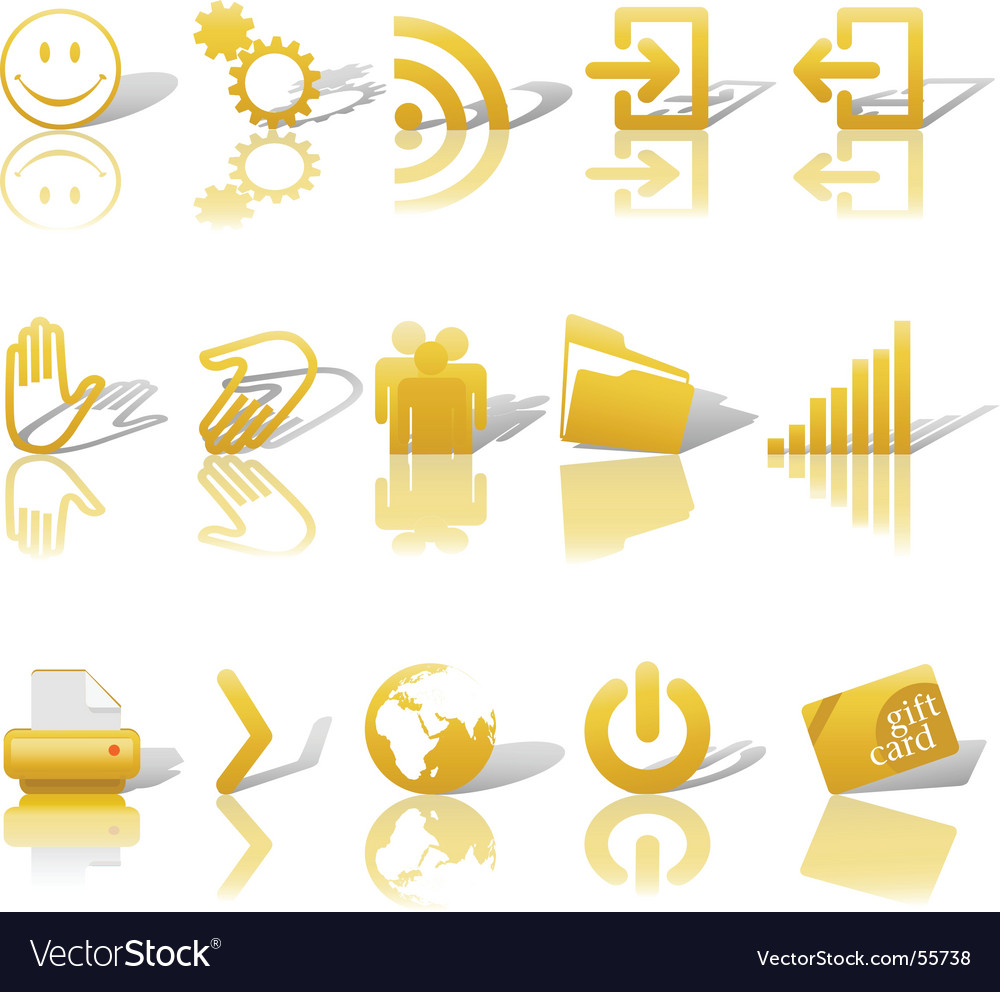 Web gold icons set vector | Price: 1 Credit (USD $1)