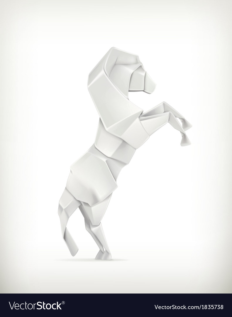 White paper horse origami vector | Price: 1 Credit (USD $1)