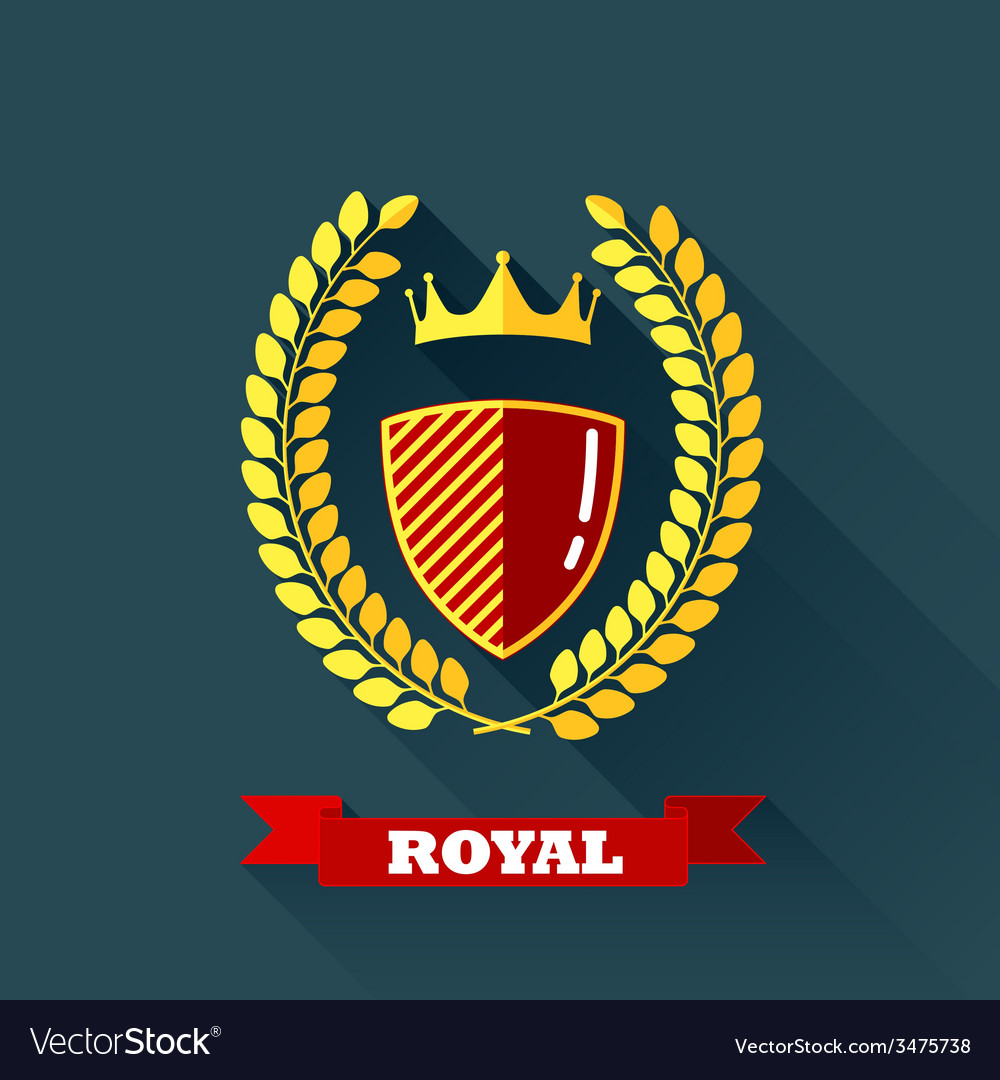 With laurel wreath shield and crown in flat design vector | Price: 1 Credit (USD $1)