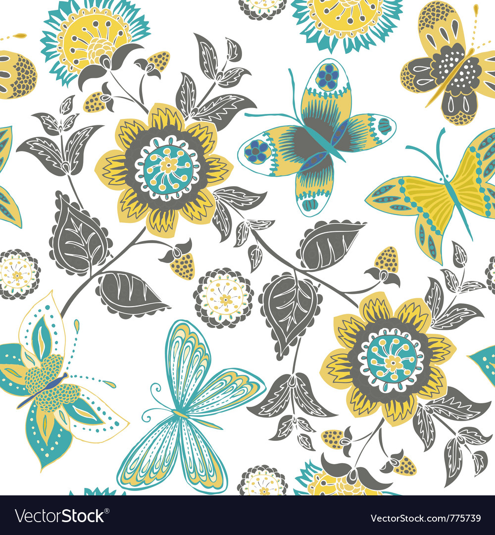Butterflies and sunflowers vector | Price: 1 Credit (USD $1)