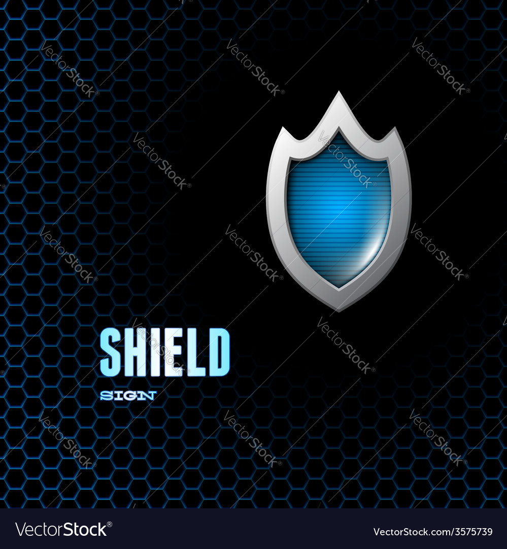 Card with steel glossy lightened shield vector | Price: 1 Credit (USD $1)