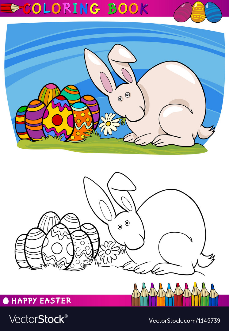 Easter bunny cartoon for coloring vector | Price: 1 Credit (USD $1)
