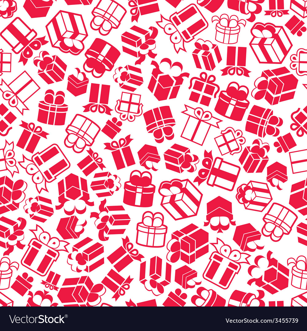 Gift boxes seamless background monochrome single vector   Price: 1 Credit (USD $1)