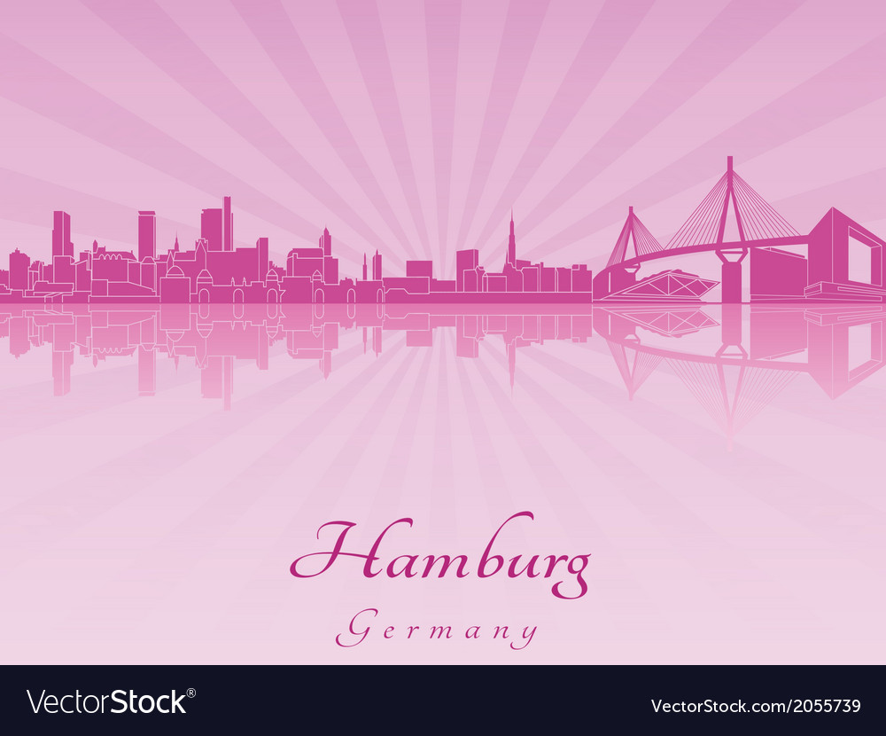 Hamburg skyline in purple radiant orchid vector | Price: 1 Credit (USD $1)