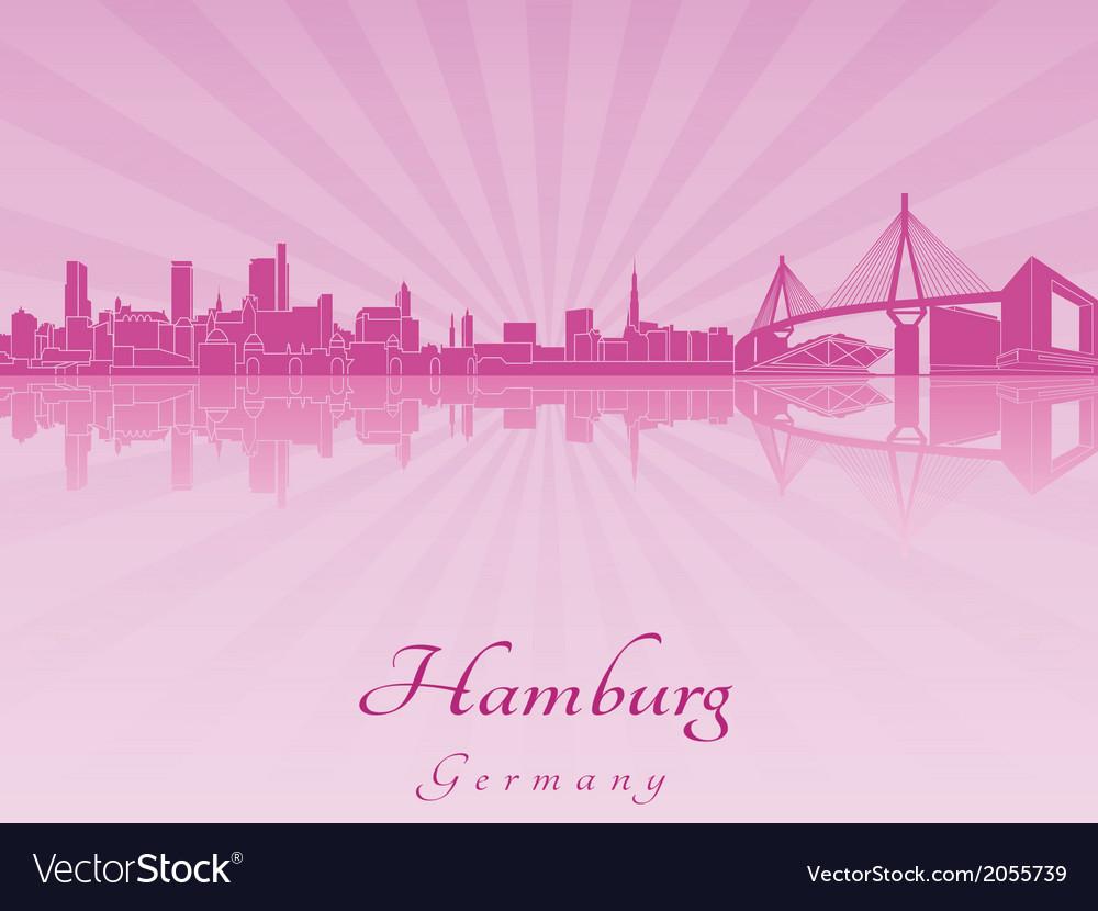 Hamburg skyline in purple radiant orchid vector | Price: 1 Credit (USD $1)