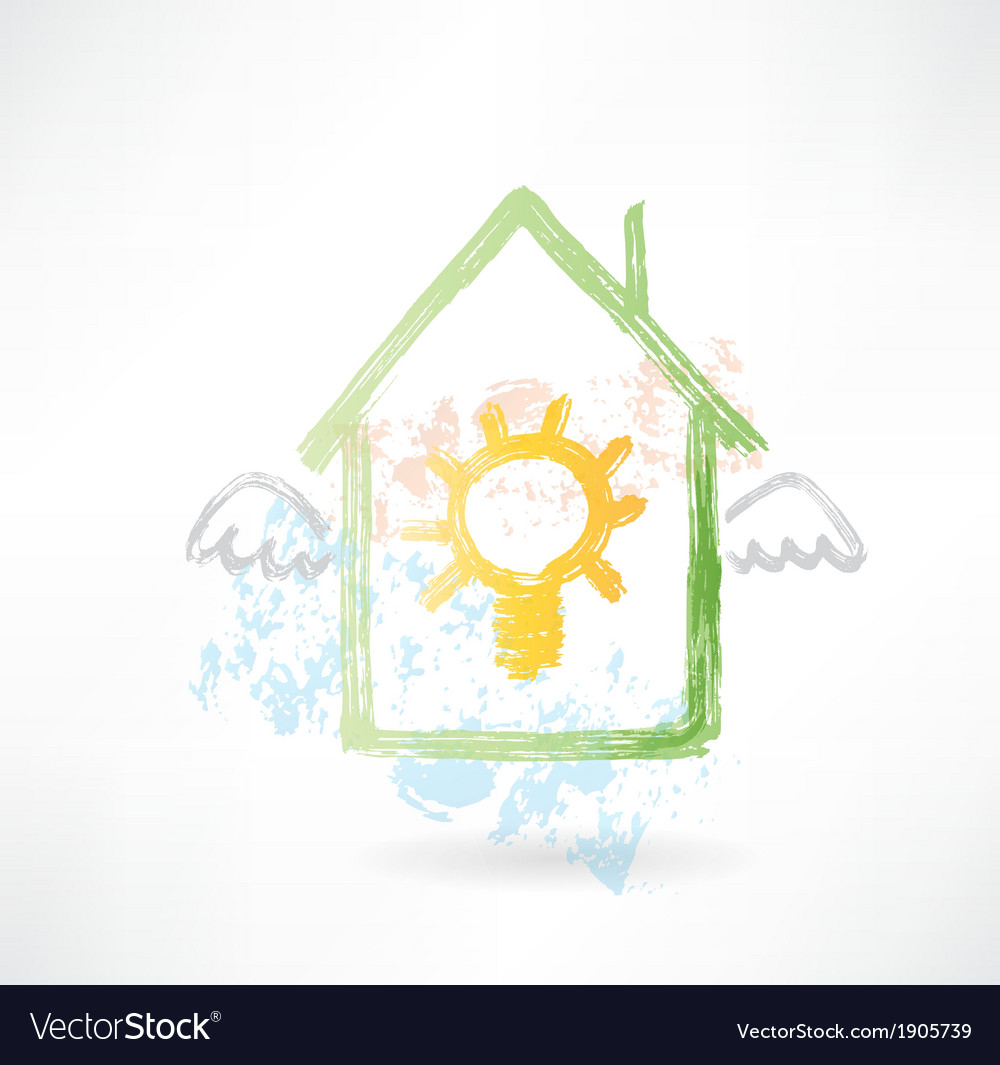 House and lamp grunge icon vector | Price: 1 Credit (USD $1)