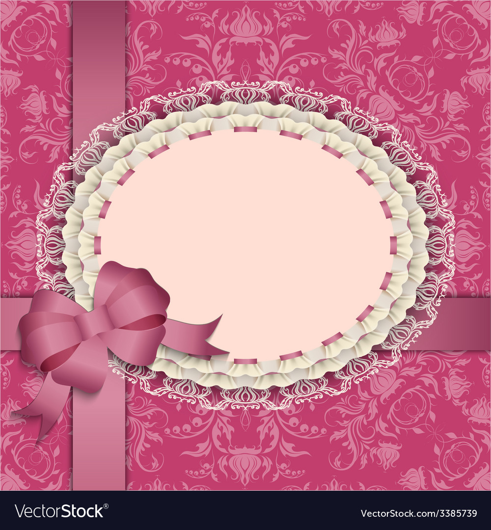 Pink gift card with lace ribbons silk bow vector | Price: 3 Credit (USD $3)