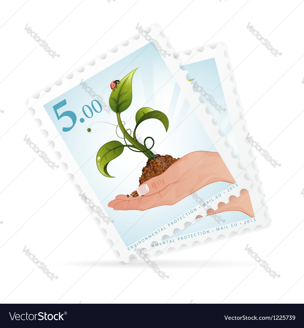 Postage stamps with hand and sprout vector | Price: 1 Credit (USD $1)