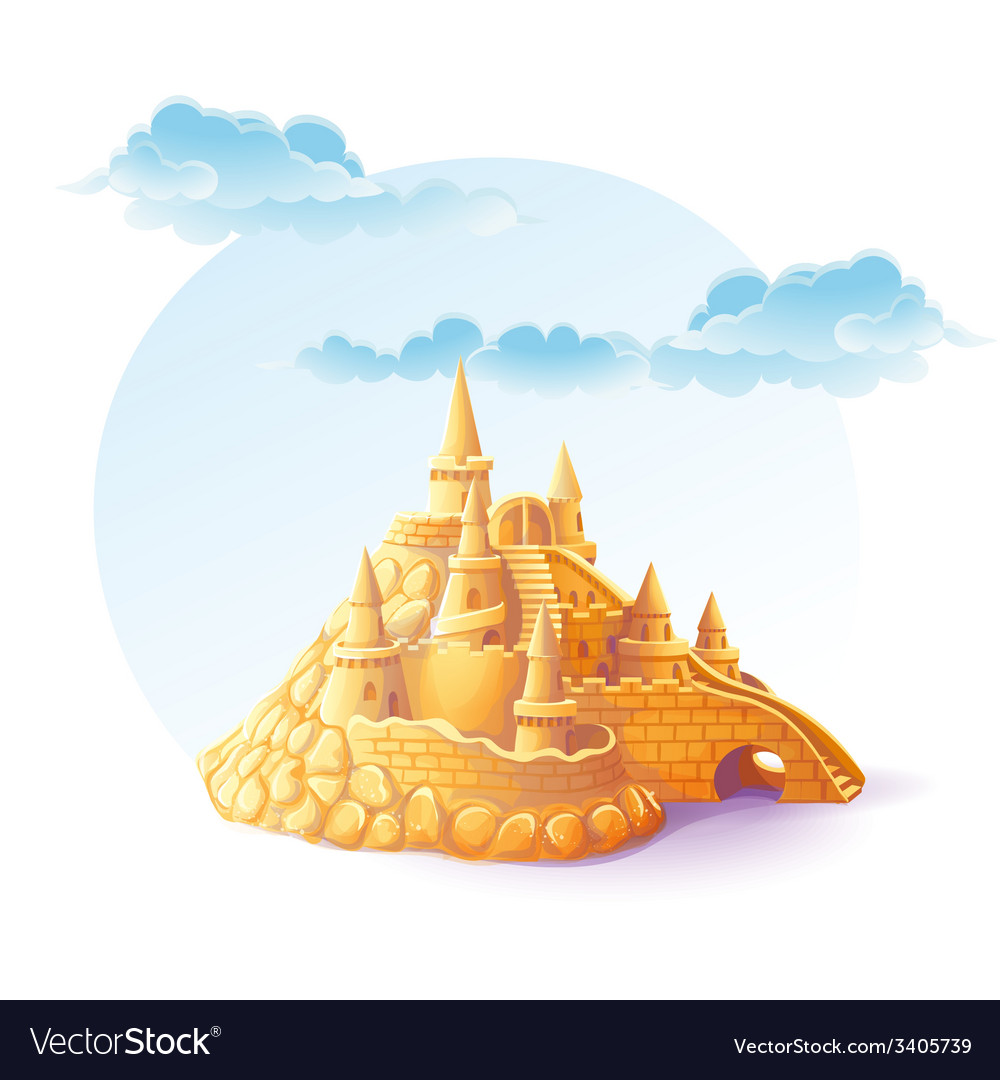 Sand castle on the background of sky vector | Price: 3 Credit (USD $3)