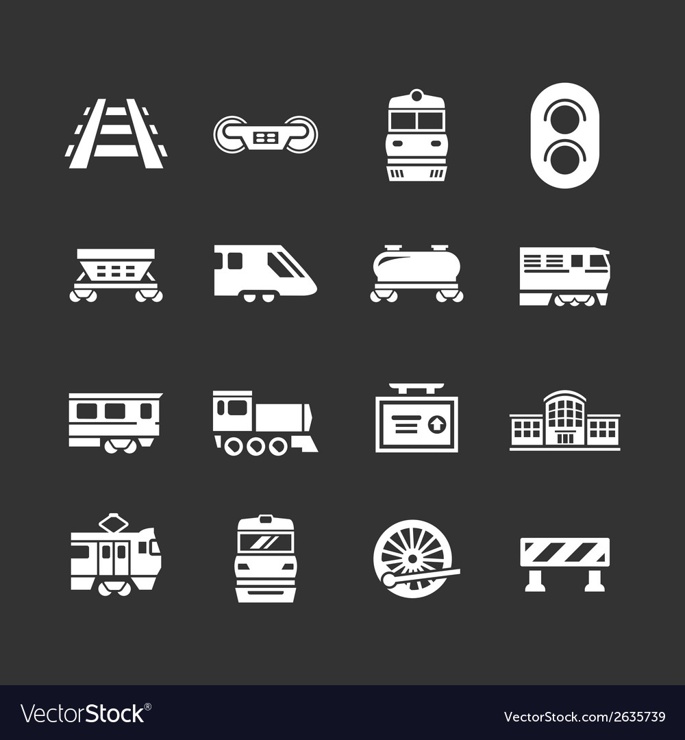Set icons of railroad and train vector | Price: 1 Credit (USD $1)