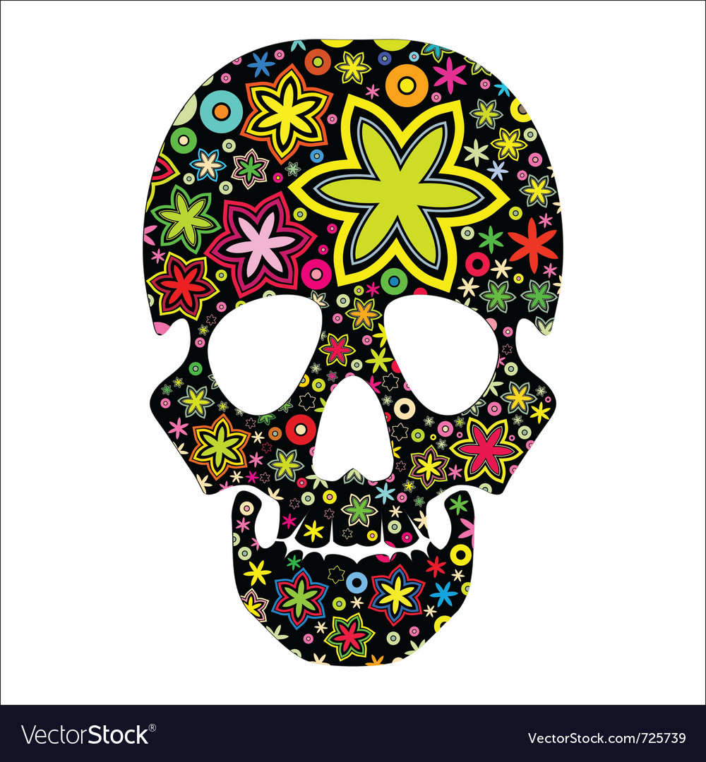 Skull in flowers vector | Price: 1 Credit (USD $1)