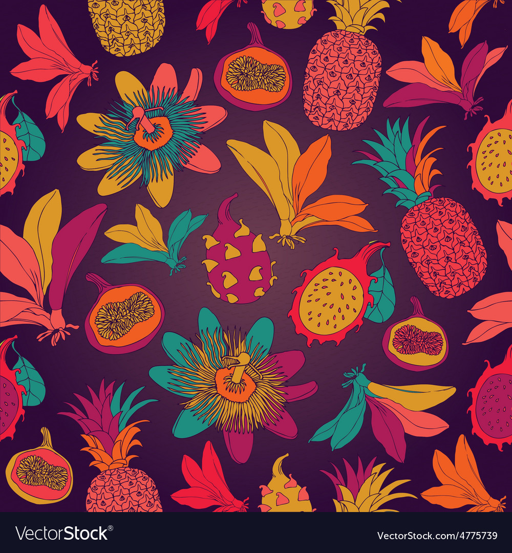 Vintage seamless tropical flowers with pineapple vector | Price: 1 Credit (USD $1)