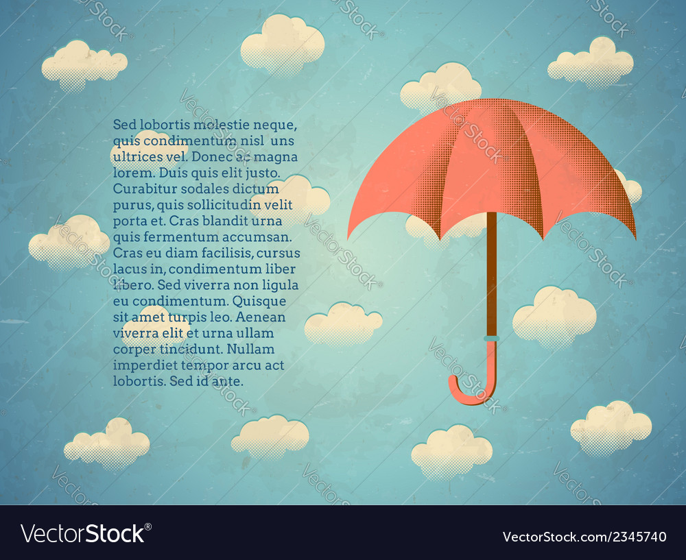 Aged vintage card with umbrella vector | Price: 1 Credit (USD $1)