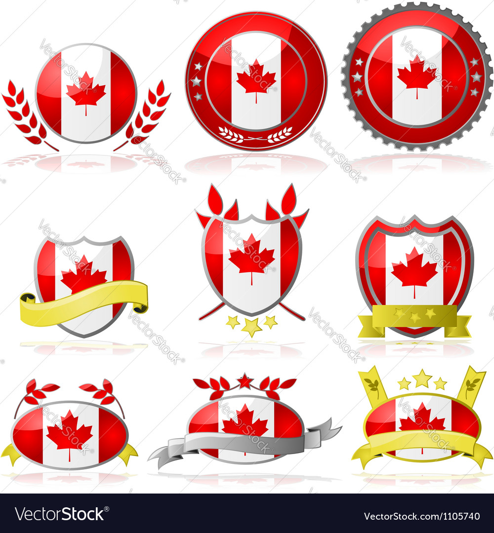 Canada badges vector | Price: 1 Credit (USD $1)