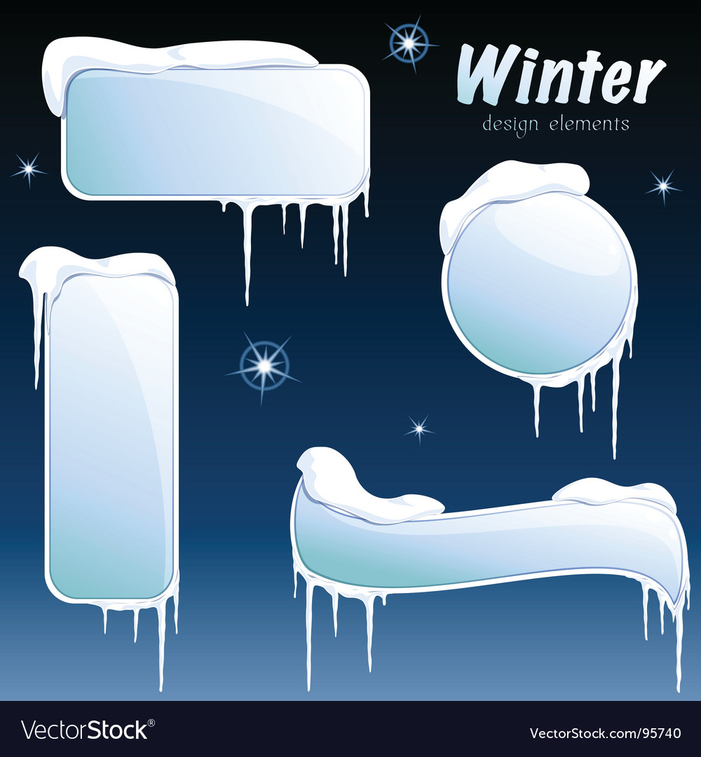 Collection of glossy winter banners vector | Price: 1 Credit (USD $1)