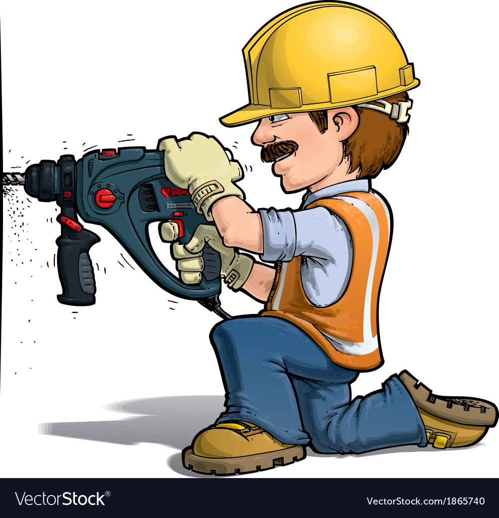 Construction workers drilling vector | Price: 3 Credit (USD $3)