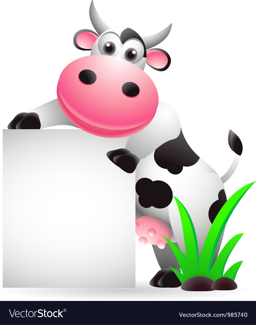 Cow cartoon with blank sign vector | Price: 1 Credit (USD $1)