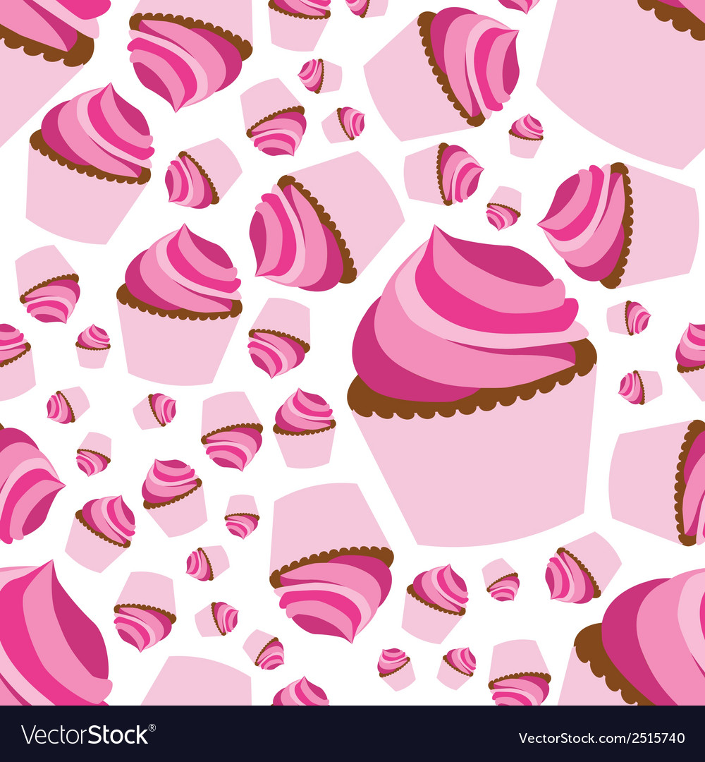 Cupcake seamless pattern vector | Price: 1 Credit (USD $1)
