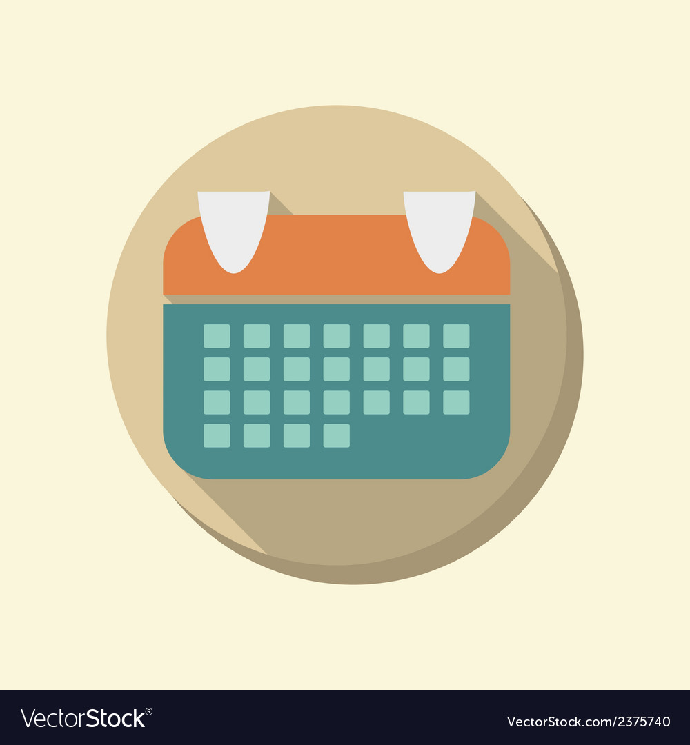 Flat circle web icon calendar vector | Price: 1 Credit (USD $1)