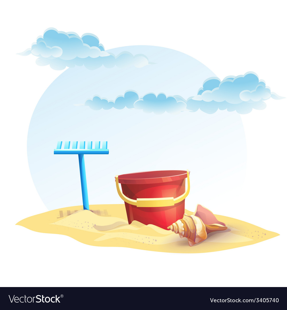 For childrens sand bucket and a rake with shell vector | Price: 3 Credit (USD $3)