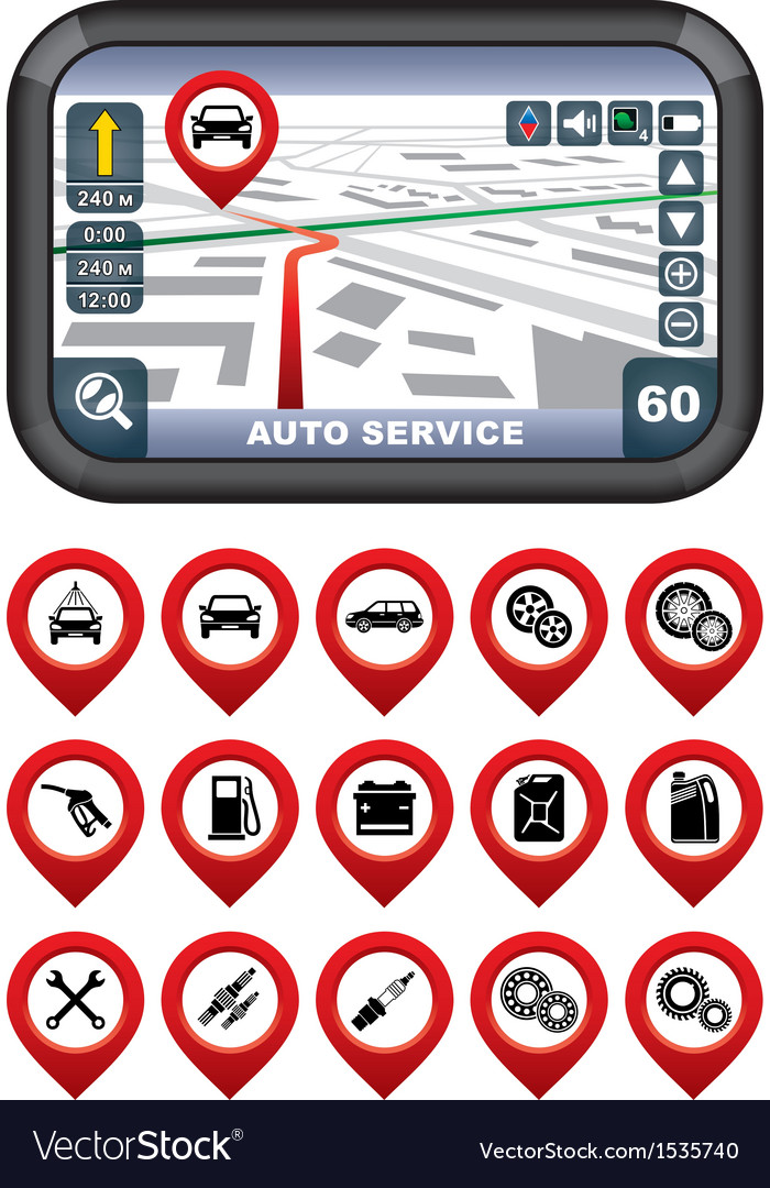 Gps navigator with the pointer autoservice vector | Price: 3 Credit (USD $3)