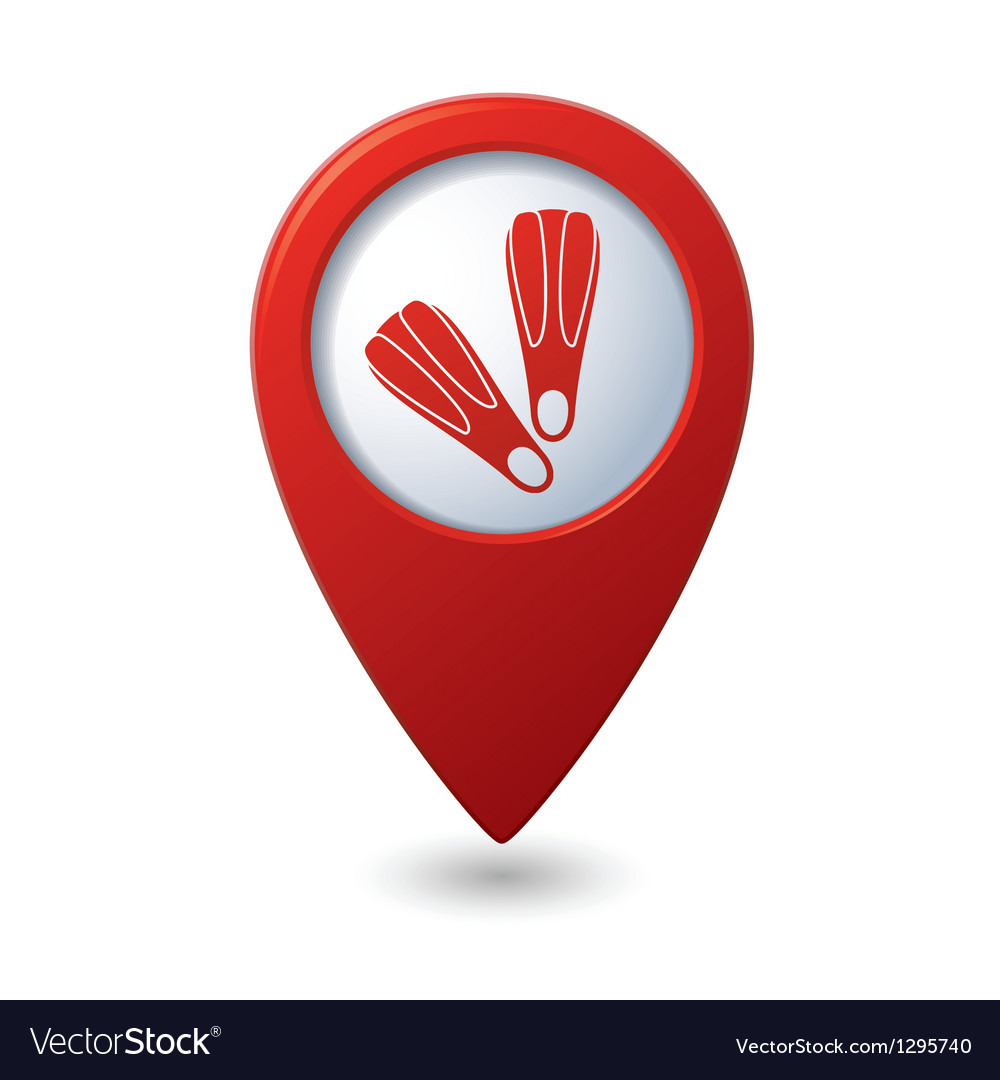 Map pointer with flippers icon vector | Price: 1 Credit (USD $1)