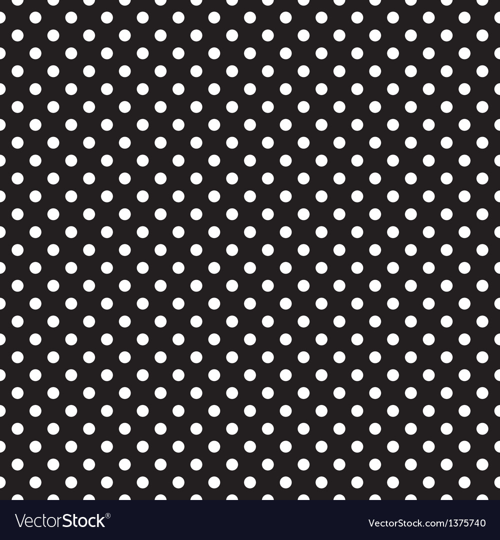 Seamless pattern white polka dots black background vector | Price: 1 Credit (USD $1)