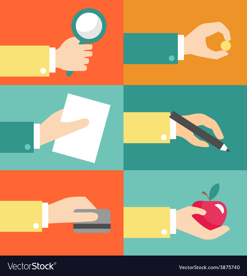 Set of hands - clients purchasing work in vector | Price: 1 Credit (USD $1)